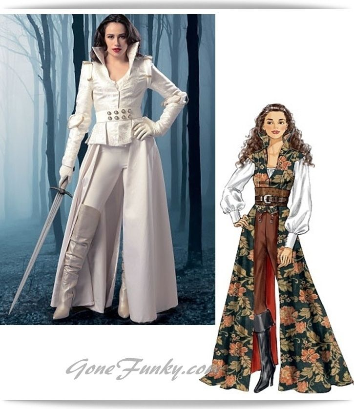 Sexy Pirate Costume Sewing Pattern Misses Coat Top Corset Medieval ...