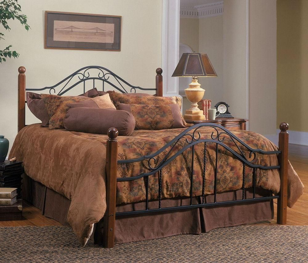 Black Textured Queen Size Bed Set with Rail Hillsdale