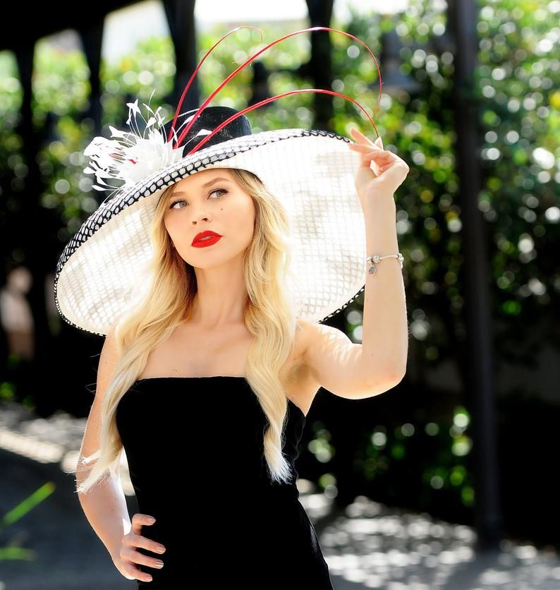 Limited Edition White Hat Black Hat Red Hat Kentucky Derby Etsy Elegant Hats Hats Red Hats