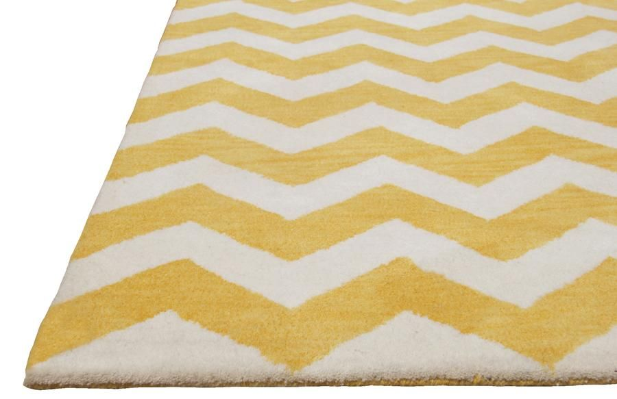 Chevron Zig Zag Yellow Color Hand Tufted Modern Style Woolen Area Rug Rugs Hand Tufted Rugs Artisan Rugs