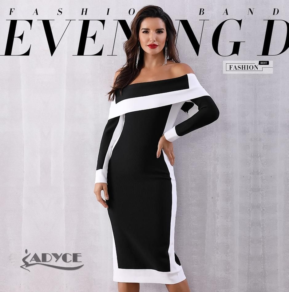 4dbf6f6e990 Adyce Sexy Summer Bodycon Bandage Dress Vestidos Verano 2018 New Long  Sleeve Off Shoulder Club Dress Women Celebrity Party Dress