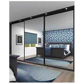 Sliding Wardrobe Doors Black Frame Mirror Panel 3 Door 2672 X 2330mm