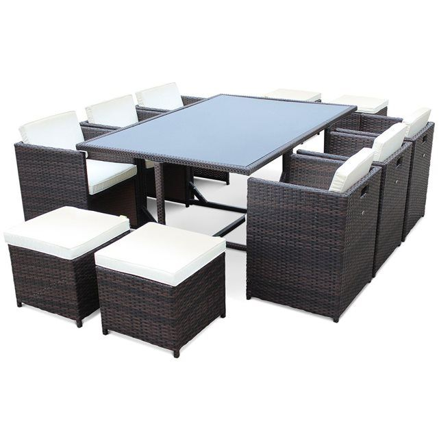 Image Salon de jardin Vasto Chocolat table en résine tressée 6 à 10 ...