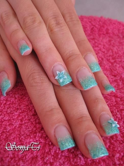 Turquoise Acrylic Nail Designs Tags Flower Fimo Gel Nail Art Nail
