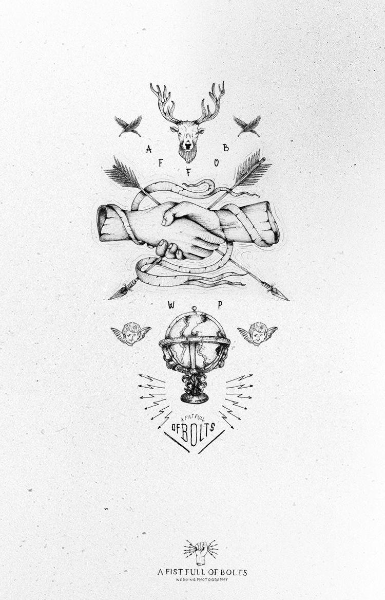 A Fist Full Of Bolts Vintage tattoo, Grafic design