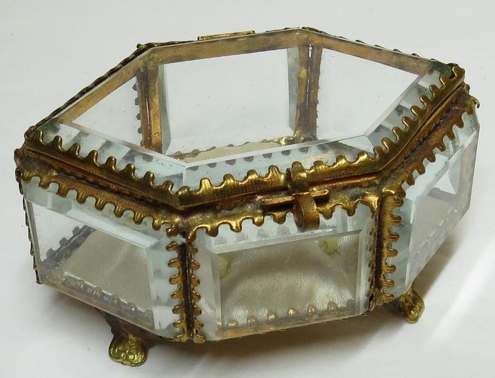 Antique French Beveled Glass Gilt Ormolu Trinket Jewelry Box Casket