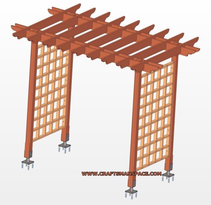 Wooden trellis arbor plan arbor plans pinterest arbors for Wooden garden arch designs