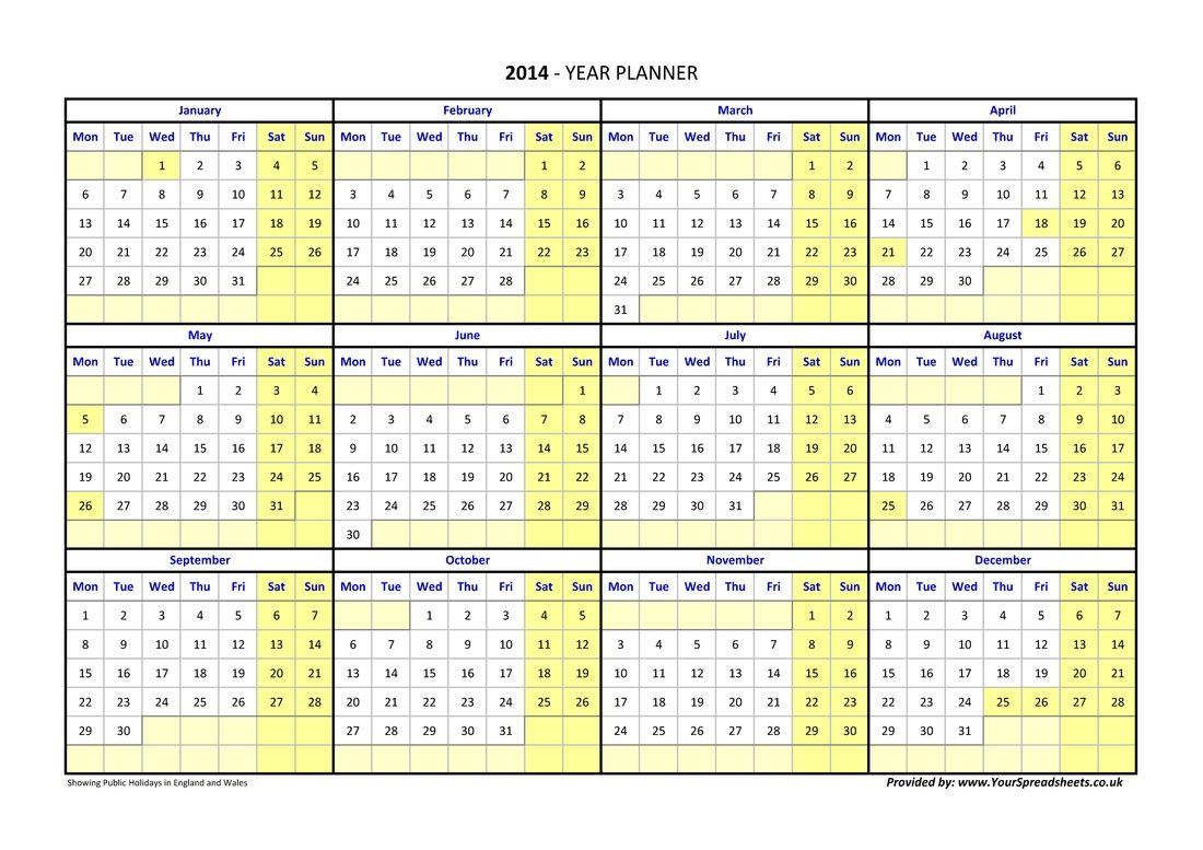 The Calendar Year In Weeks Excel Calendar Yearly Planner Calendar With Week Numbers