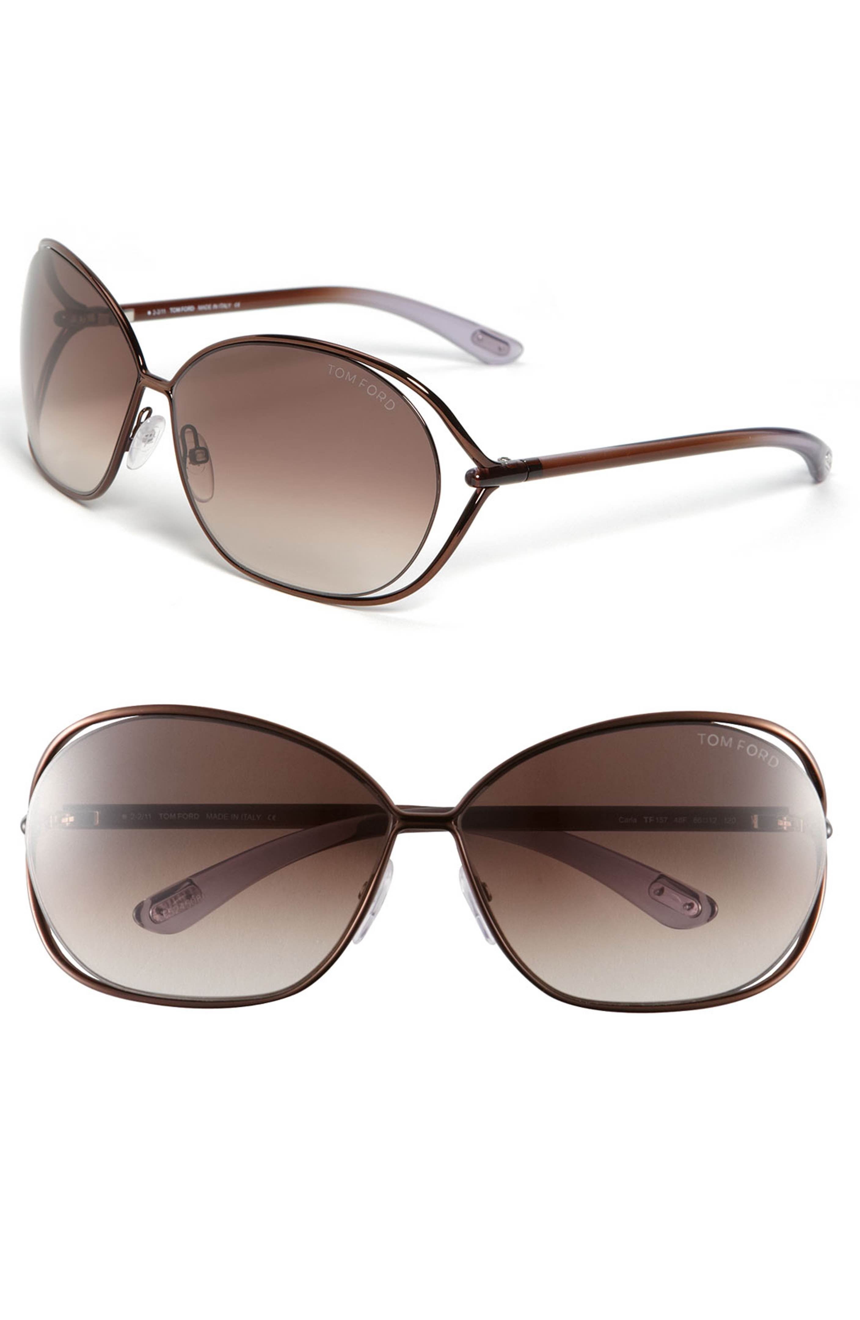 a977f88ff3 Main Image - Tom Ford  Carla  66mm Oversized Round Metal Sunglasses ...