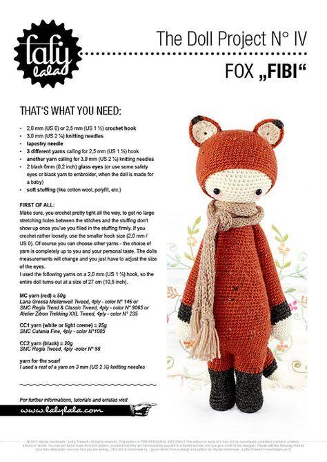 FIBI the fox • lalylala crochet pattern / amigurumi | morelia ...