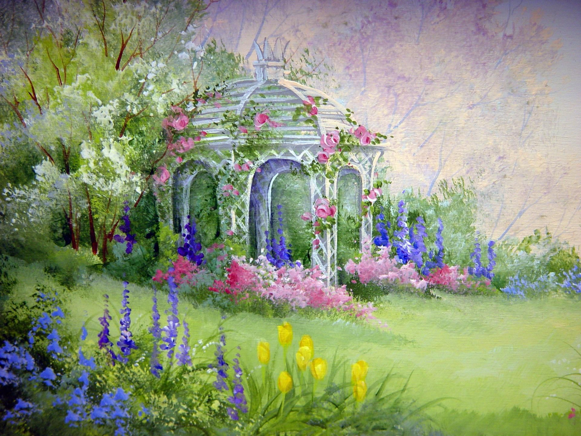 Flower Garden Paintings garden gazebo english flower garden painting | gazebos ~ artwork