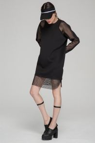 Dress with contrast mesh sleeves