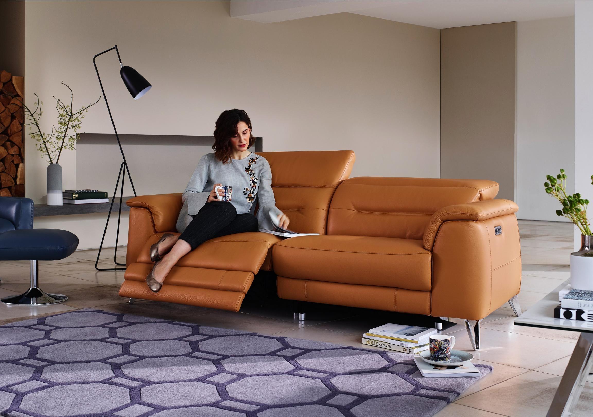 Sanza 3 Seater Leather Sofa | Reclining sofa, Leather sofa