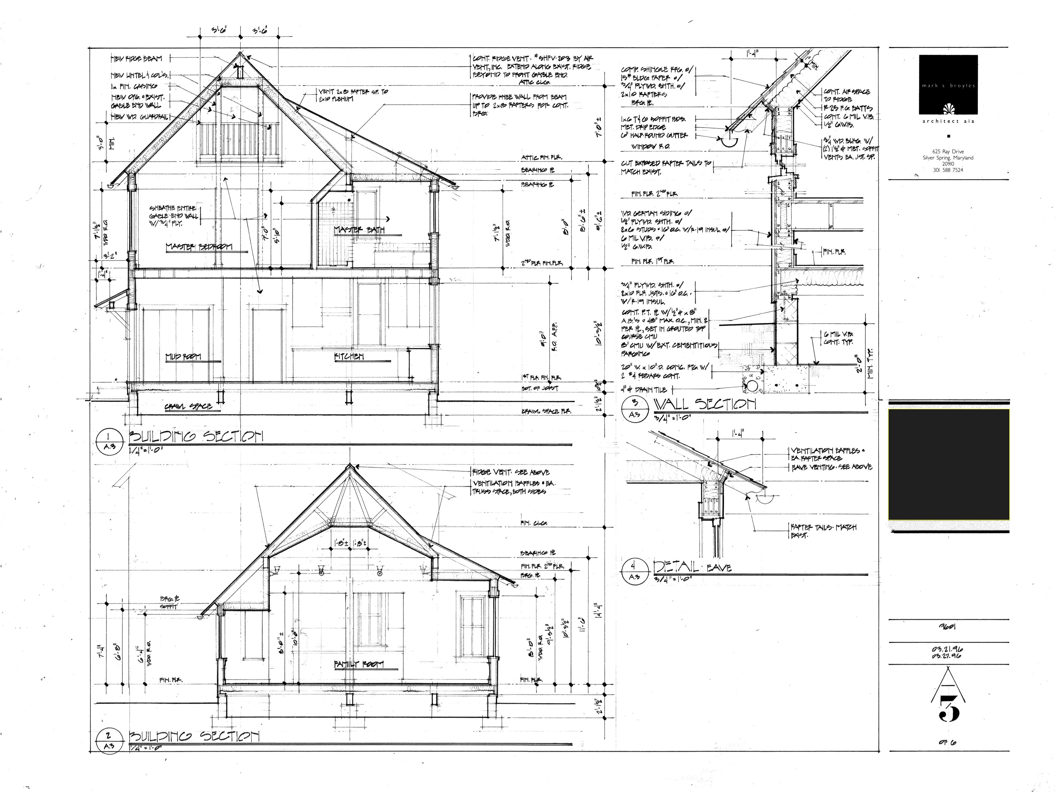 Residential Addition Working Drawing Building Sections
