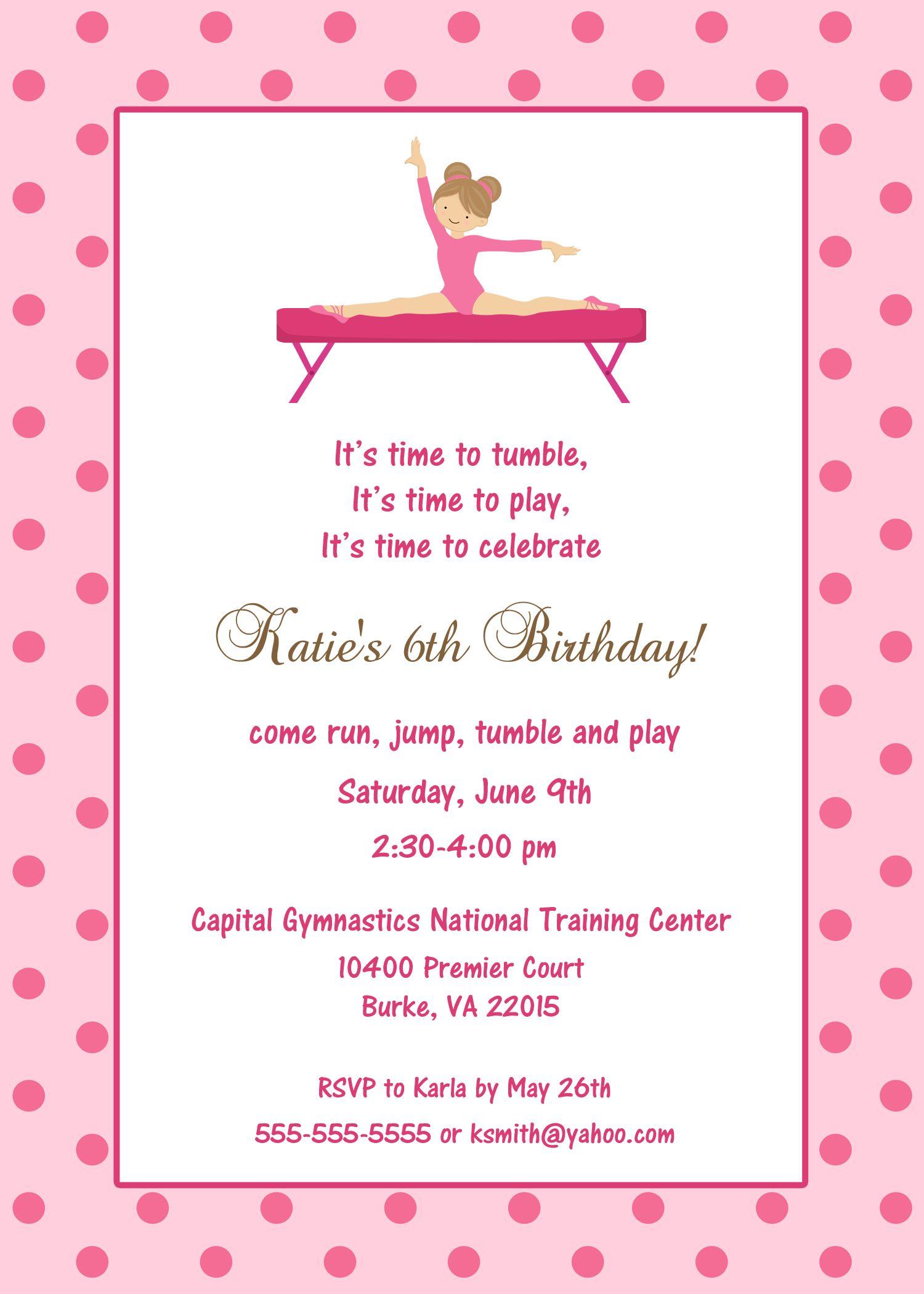 Gymnastics Birthday Invitation Custom Designed