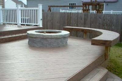 Timber Tech Composite Deck With Curved Bench And Fire Pit