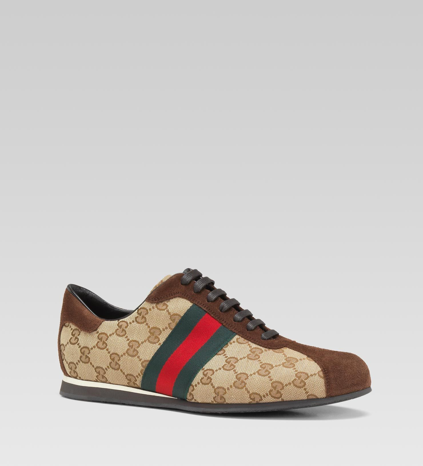 871cf7bbb It's like a fancy pair of bowling shoes! - Gucci Lace-up sneaker with  signature web detail.