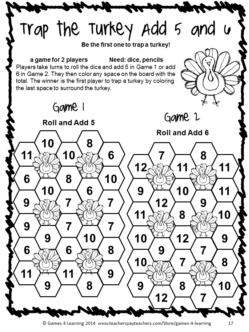 NO PREP game from Thanksgiving Math Games First Grade by