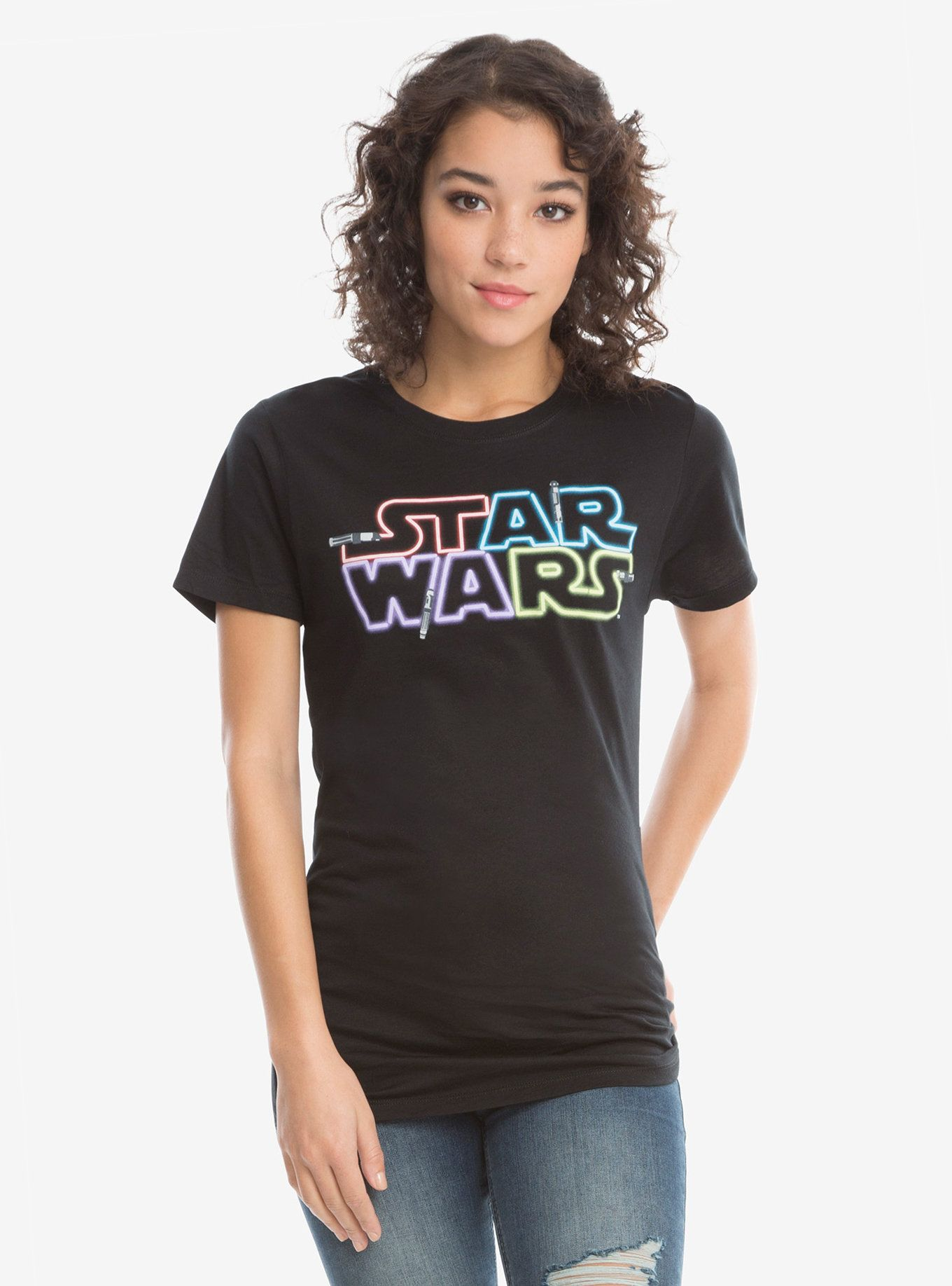 Childrens Star Wars Written Logo Tshirt Boys Girls Kids The Last Jedi T Shirt