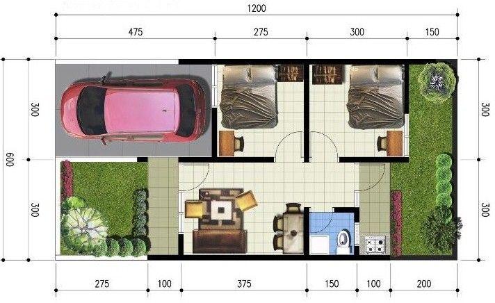 Denah Rumah Minimalis 1 Lantai Type 36 | Minimalist house ...