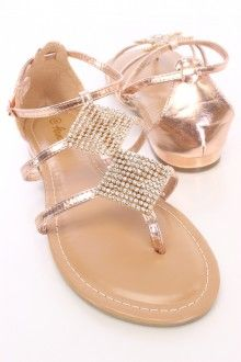 Rose Gold Rhinestone Mesh Side Buckle Thong Sandals Faux Leather