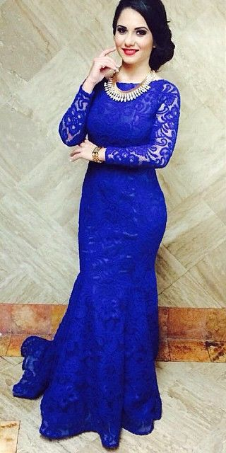 2016 Royal Blue Lace Mermaid Prom Dresses Open Back Long Sleeves ...