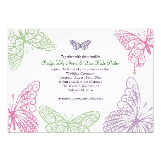 Butterfly Themed Wedding Invitations: Heart's A Flutter Wedding Invitation 2