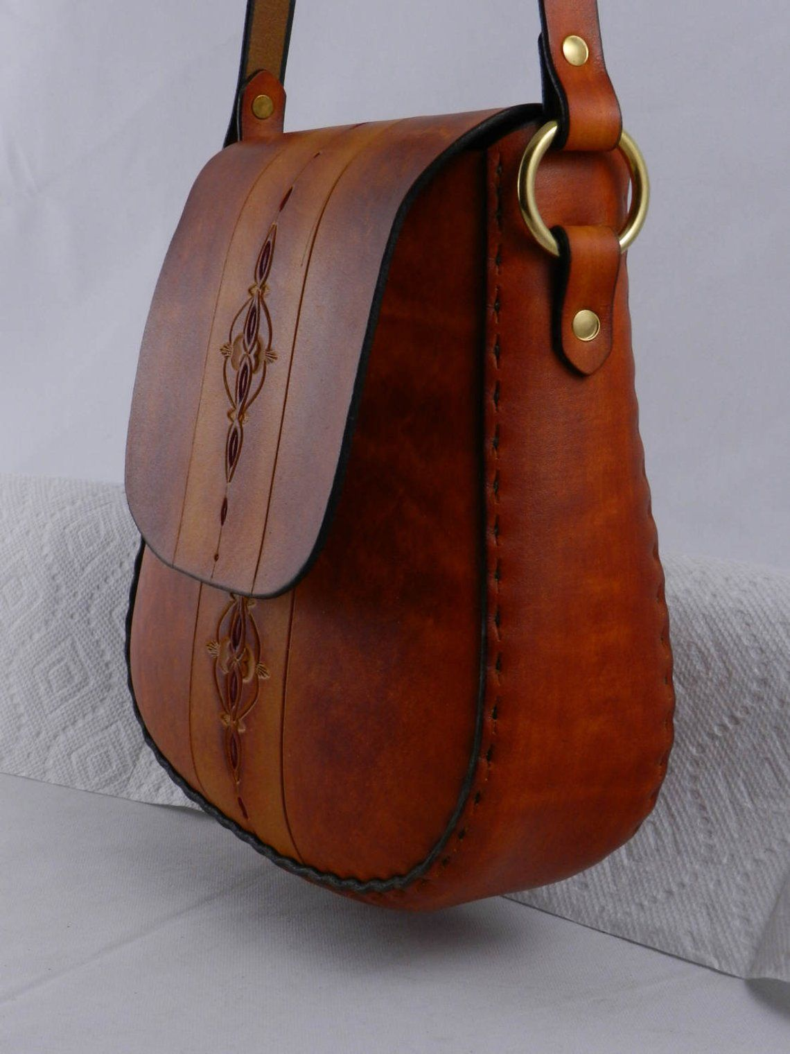 53897eeecdef Handmade Tooled Latigo Leather Shoulder Bag   Crossbody Bag - Hand ...
