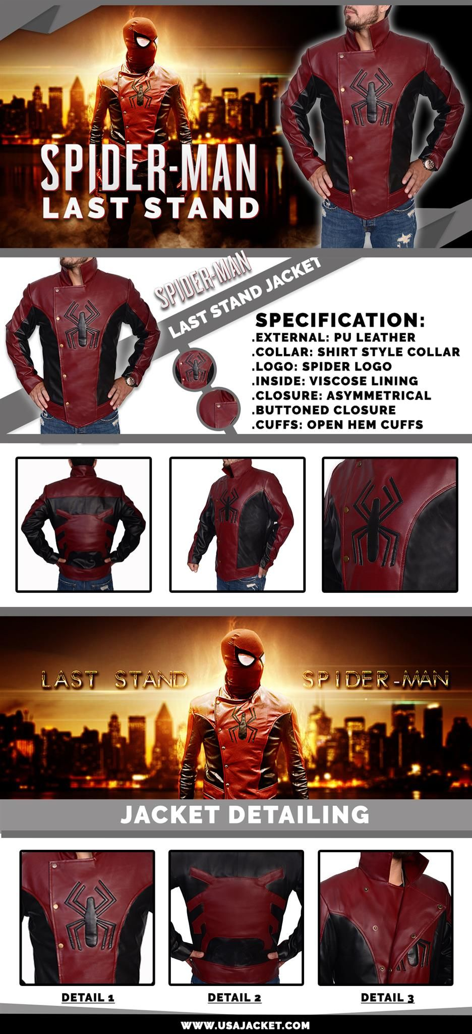 New Spider Man Last Stand Peter Parker Amazing Homecoming Faux Leather Jacket