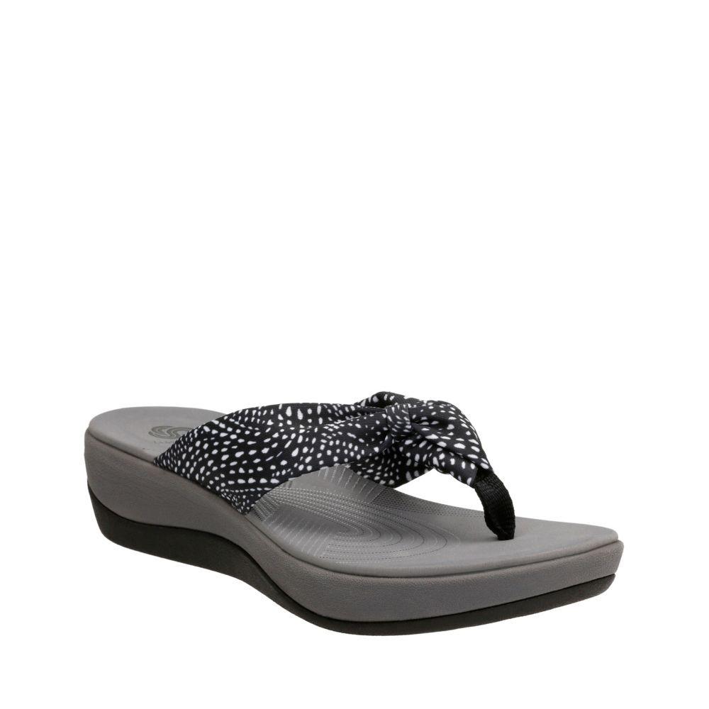 77b3cf01540257 Arla Glison Black w White Dots Fabric womens-flip-flops-sandals ...