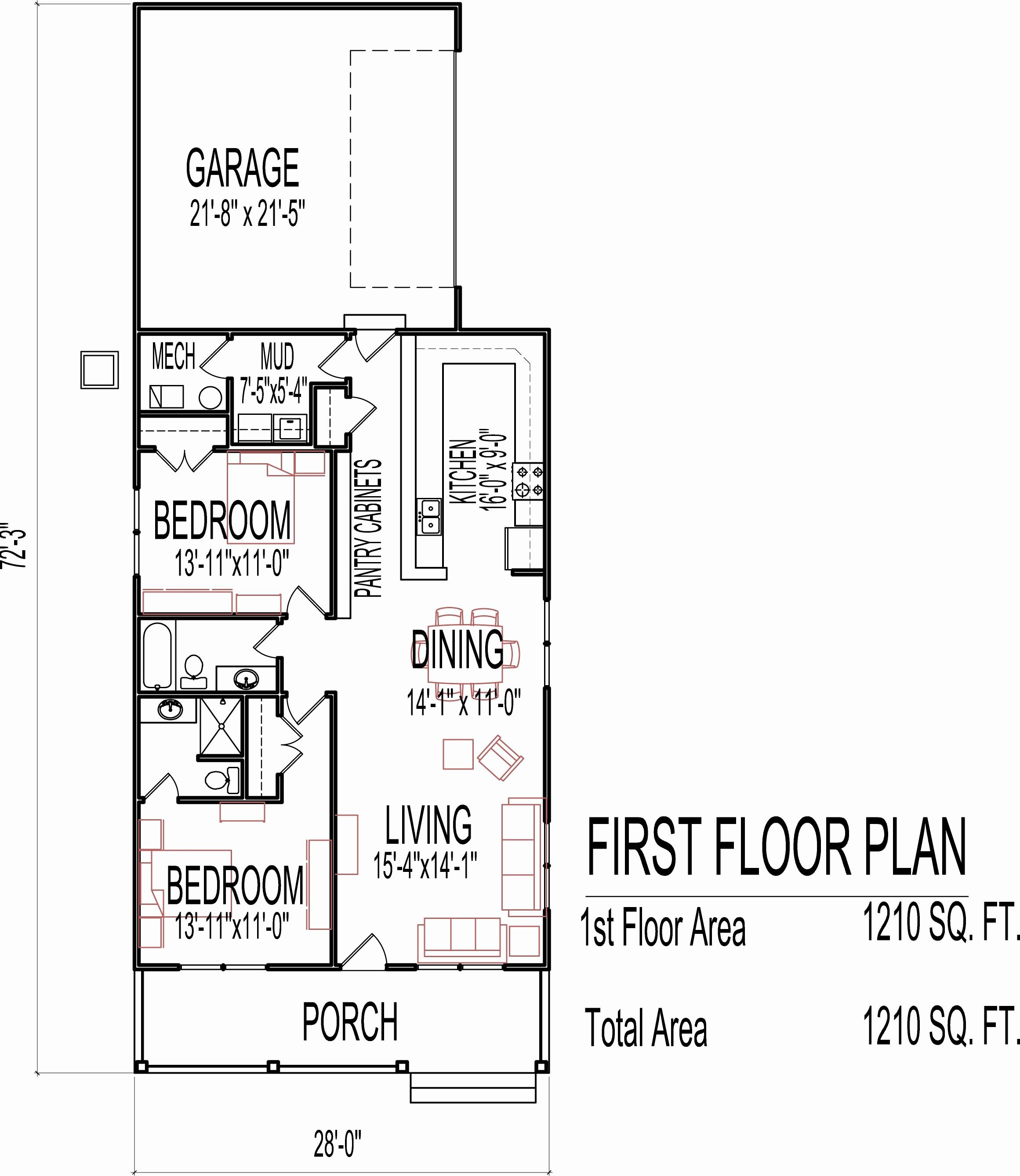 House Plans Indian Style Sq Ft Lovely Plan For Sq Ft Home Floor Plans For Two Bedroom Homes Beauti In 2020 Single Story House Floor Plans Floor Plans Two Bedroom House