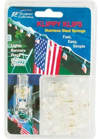 Clip Fasteners for Hanging Lights, Flags, Chimes, Banners, Pack of 10 by Lights Cord. $6.95. Fast, easy & simple, up in minutes. High impact plastic clips for hanging string lights, chimes, flags, banners, etc.. Rustproof stainless steel springs. Clips swivel and pivot. Easily attach wires through notch in ring. Includes 1 pack of 10 clips. High impact plastic clips for hanging string lights, chimes, flags, banners, etc.. Fast, easy & simple, up in minutes. Ru...
