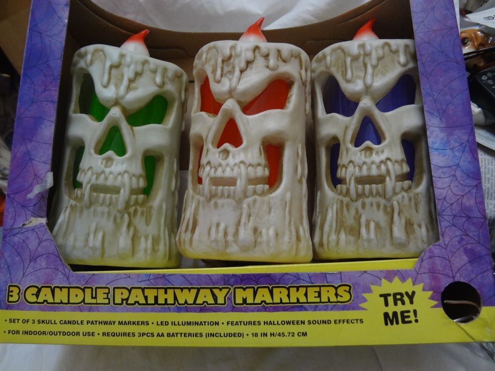 Sound Effects Halloween Skull Led Candle Pathway Markers Prop Yard Decor 3pc New Ebay Halloween Sound Effects Halloween Sounds Halloween Collectables
