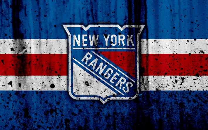Download wallpapers 4k, New York Rangers, grunge, NHL
