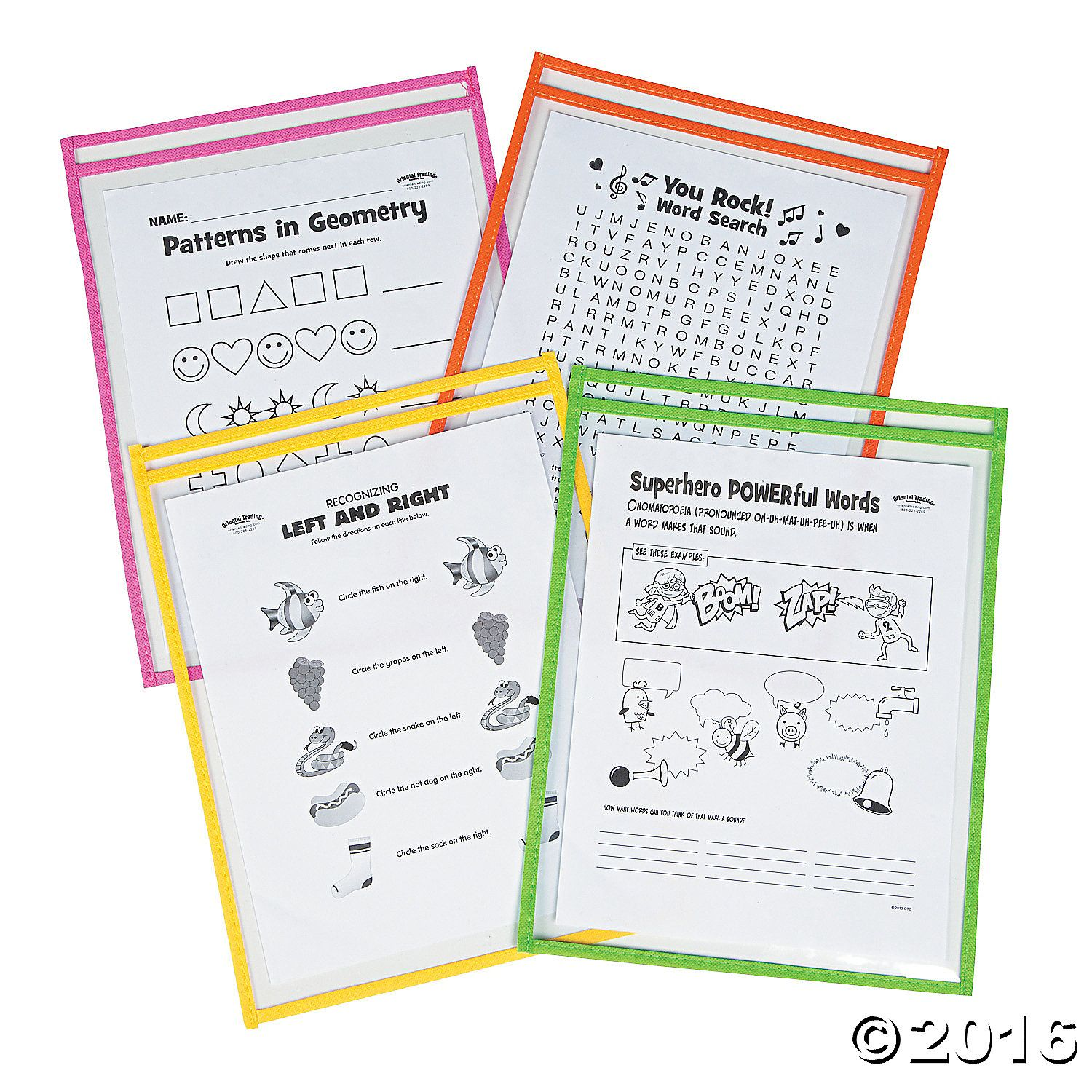 Neon Top Loading Dry Erase Pockets