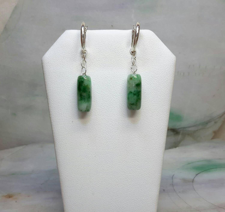 Green jade beads silver earrings, silver jade earrings, jade bead earrings, green jade earrings