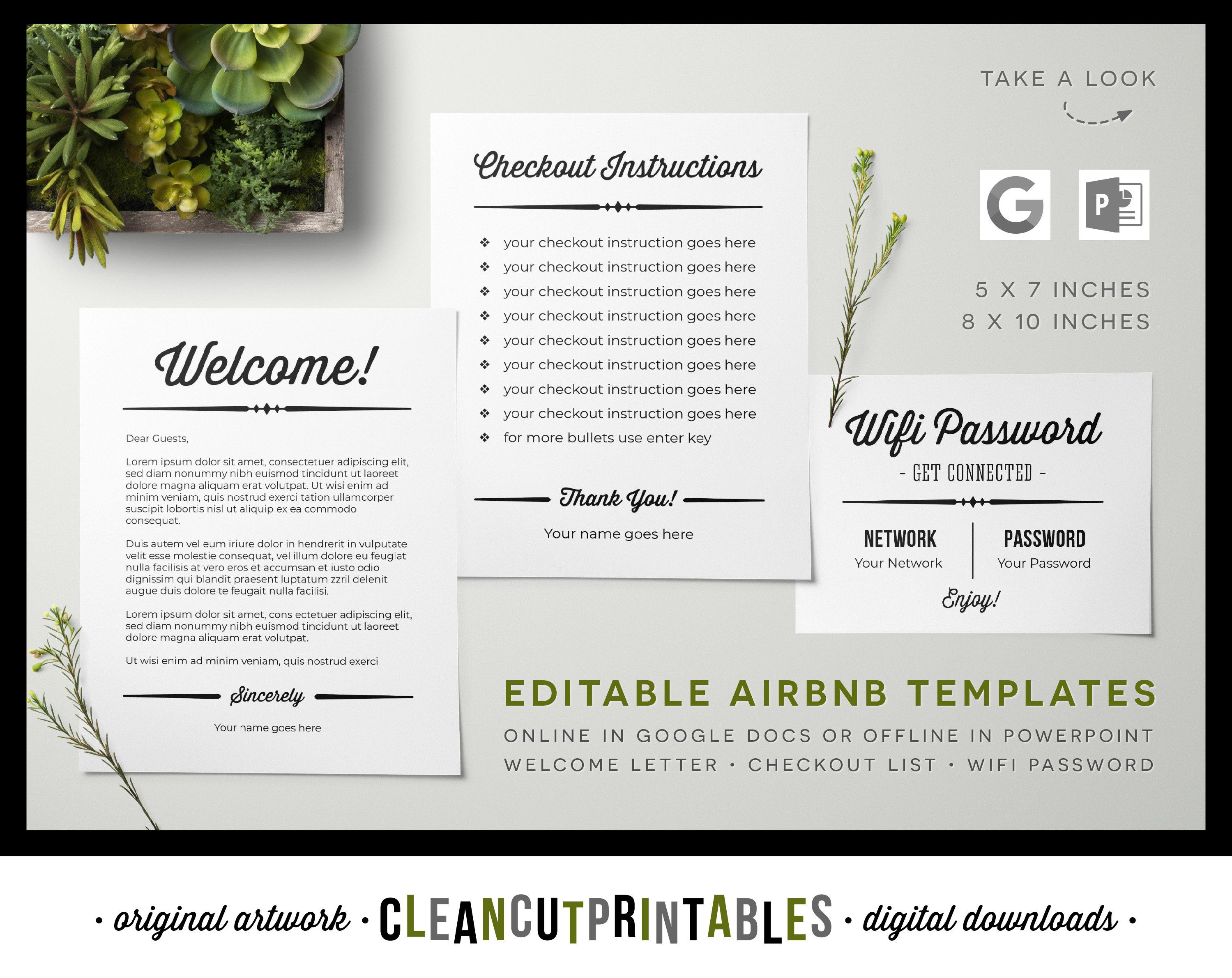 Airbnb Signs Editable Google Docs Templates Vacation Rental Printable Welcome Wifi Password Checkout Rules Guest Book Fillable Pdf Download Wifi Password Sign Welcome Letters Matte Photo Paper