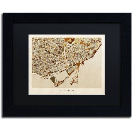 Trademark Fine Art Toronto Street Map II Canvas Art by Michael Tompsett Black Matte, Black Frame, Size: 16 x 20, Brown