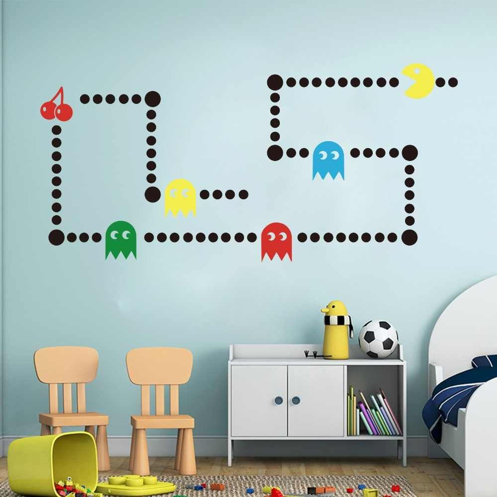 Cartoon Pacman Game Wall Sticker Kids Room Nursery Game Xbox Space Invaders Pacman Wall Decal Bedroom Play Room Vinyl Decor Wall Stickers Aliexpress Wall Stickers Kids Kids Room Wall Stickers Room
