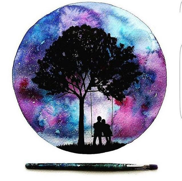 Galexy Girl Swinging Tattoo: Couple On A Swing With A Galaxy Backdrop