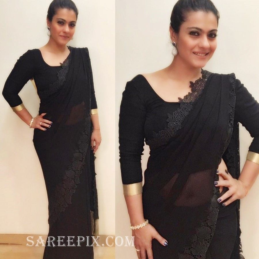 Kajol In Black Transparent Saree