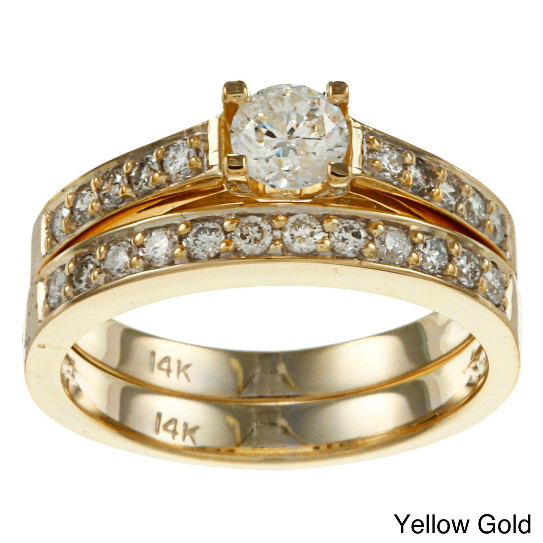 Auriya 14k Gold 1ct TDW Round Diamond Bridal Ring Set (J-K, I2) (Yellow Gold - Size 6.5), Women's, White I-J