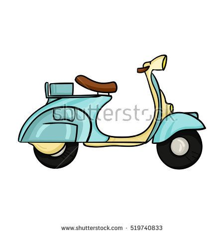 Italian Scooter From Italy Icon In Cartoon Style Isolated On White