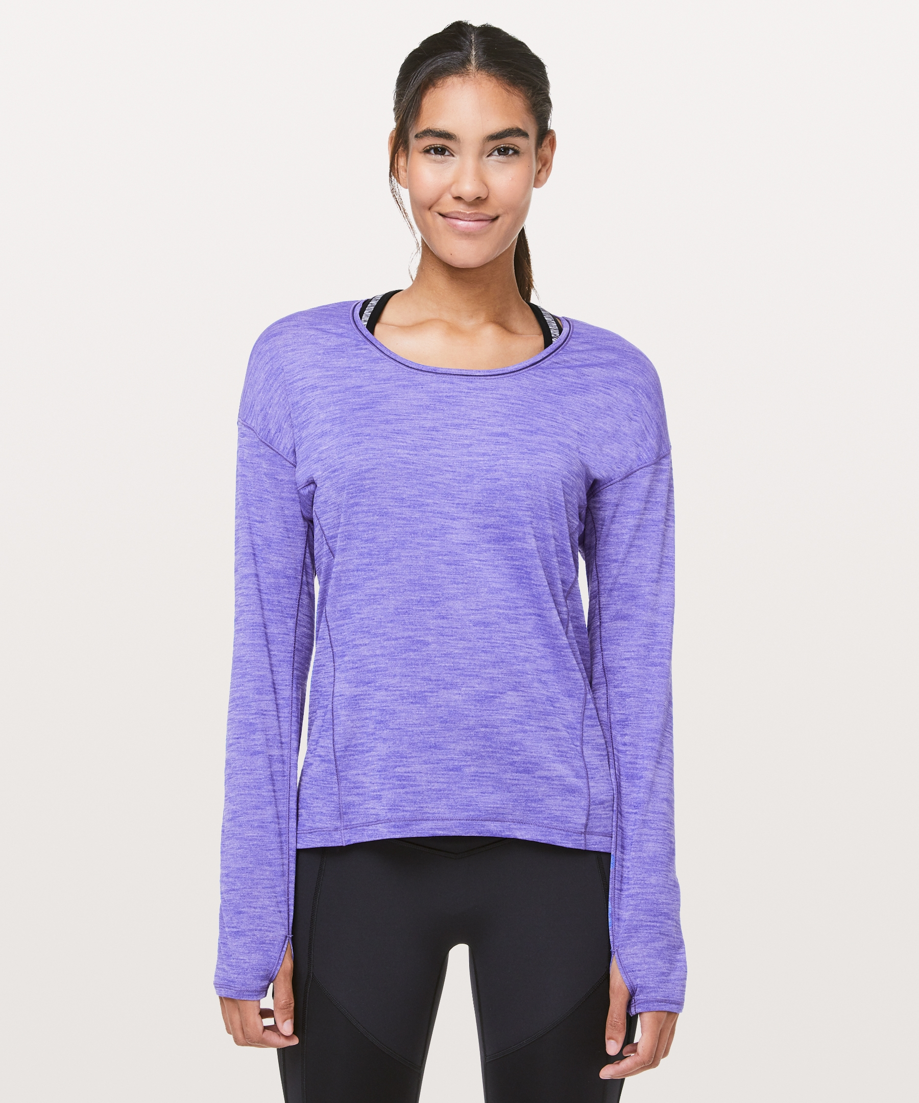c64ac9ad62 lululemon Women's Sweat Embrace Long Sleeve, Heathered Lazurite, ...