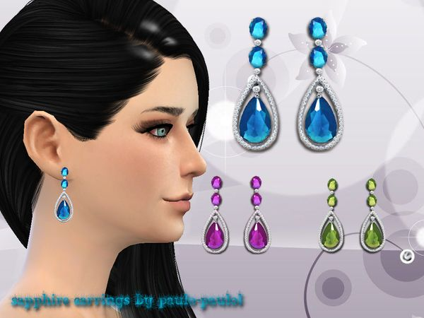 Sapphire earrings by paulo-paulol at TSR via Sims 4 Updates