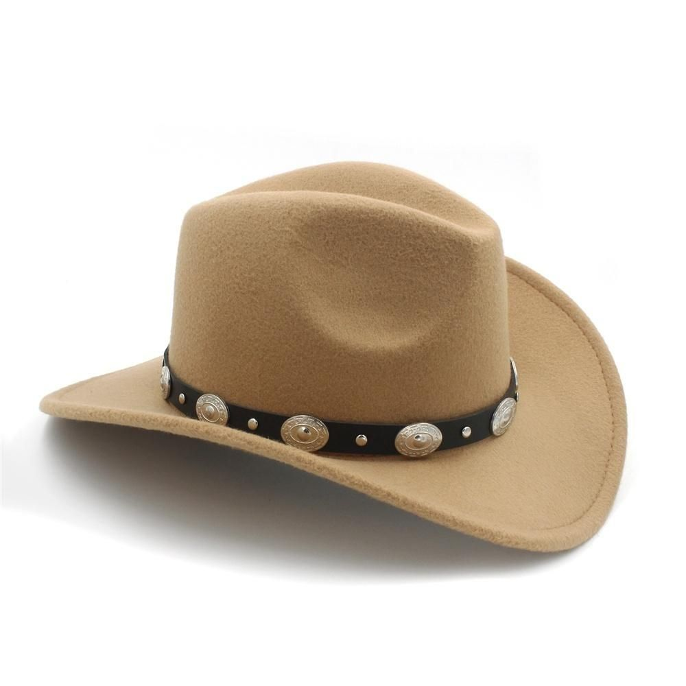 2bb583a4 New Vintage Wool Western Cowboy Hat For Womem Men Wide Brim Cowgirl Jazz Cap  With Leather