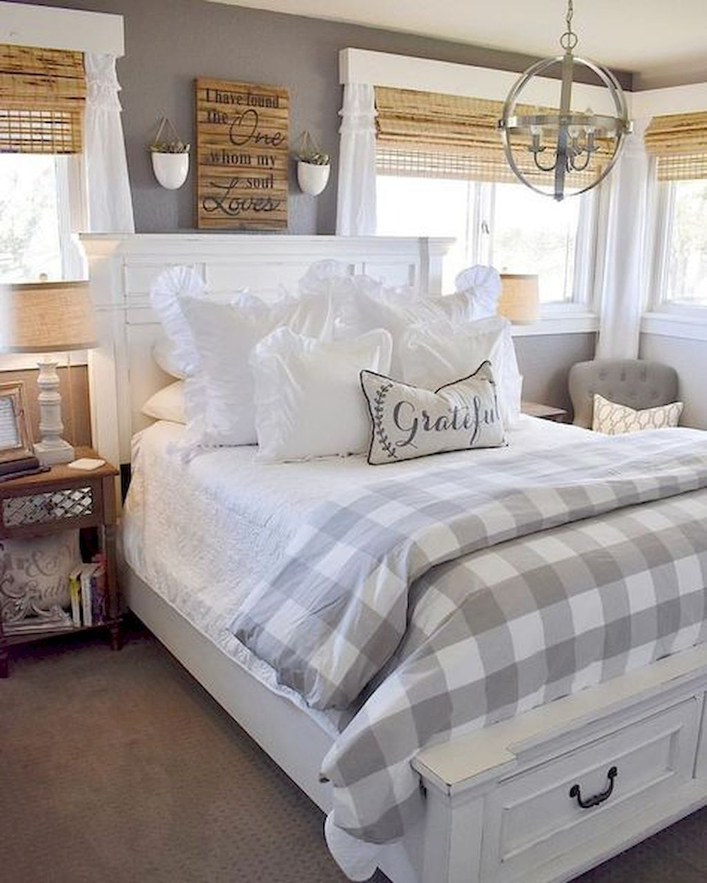 Top 60 Best Master Bedroom Ideas: Farmhouse Decor Bedroom Grey Decor Design Simple Clean