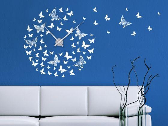Uhr schmetterlinge wanduhr wandtattoo uhren wanduhren - Schmetterlinge an der wand ...