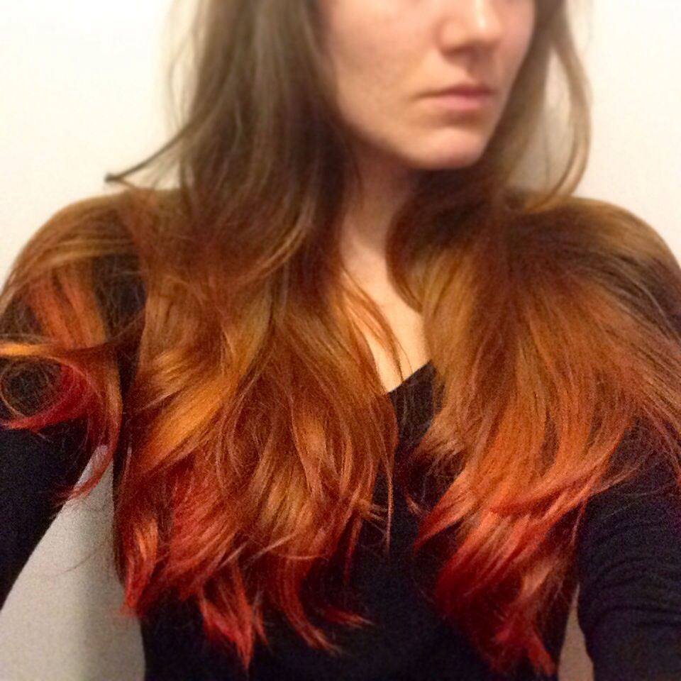 Ash Blonde To Orange To Red Ombre Hair For Autumn Using Punky