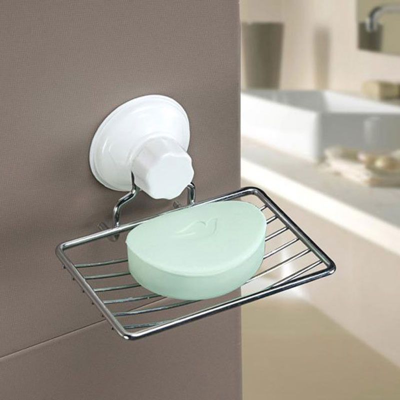 Suction Cup Soap Holder Plastic And Metal Soap Dish Tray Bathroom
